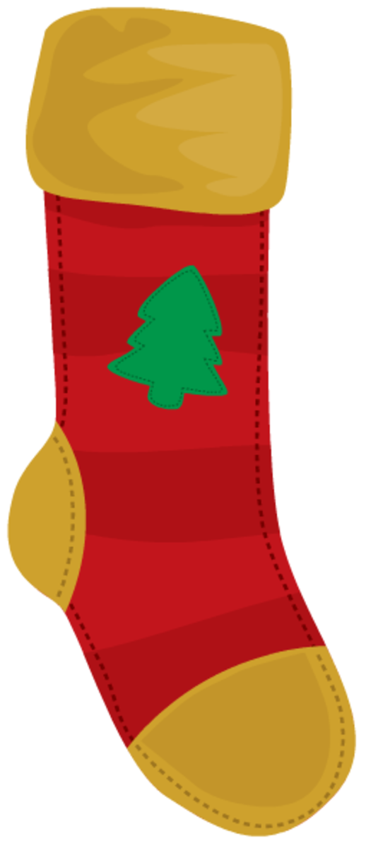Red Christmas tree stocking clip art.