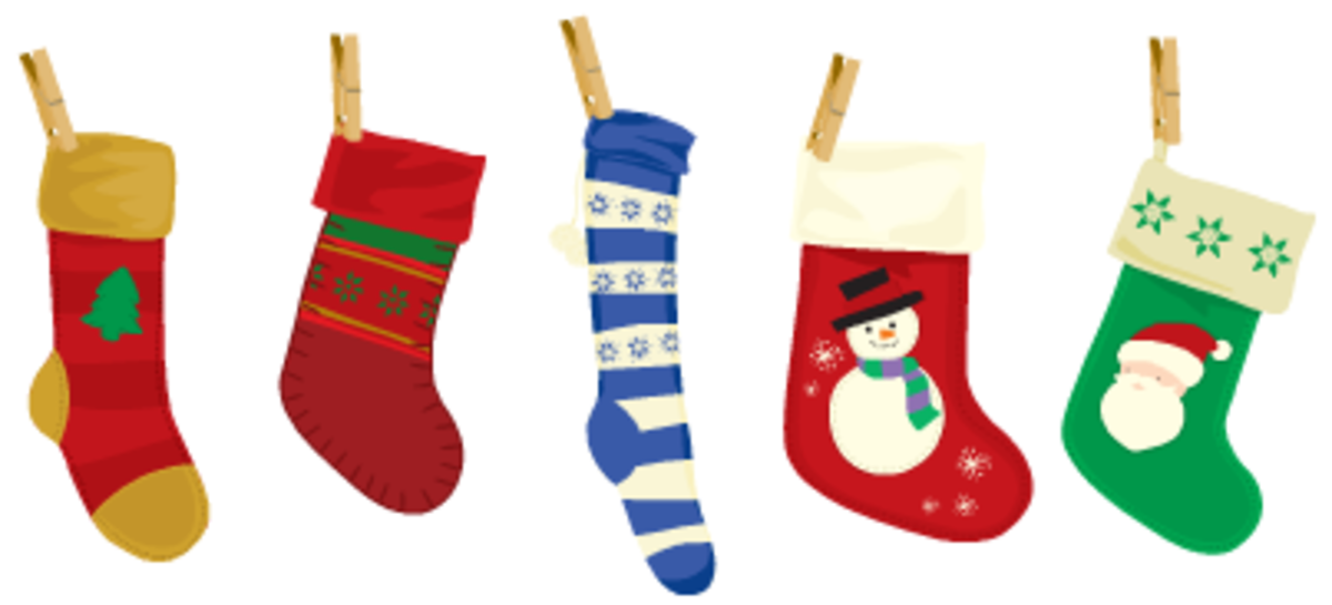 Five Christmas stockings.