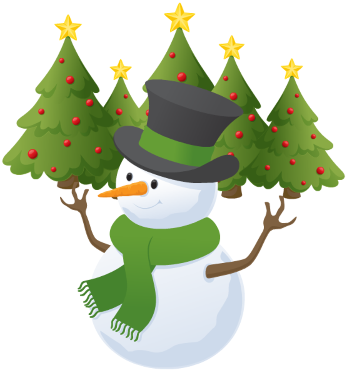 Christmas trees pictures: Christmas trees with snowman