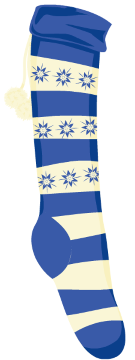 Blue-and-white striped Christmas stocking.