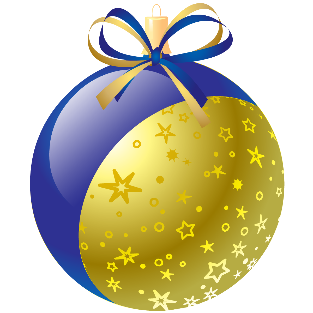 Blue and gold Christmas ornament with stars.