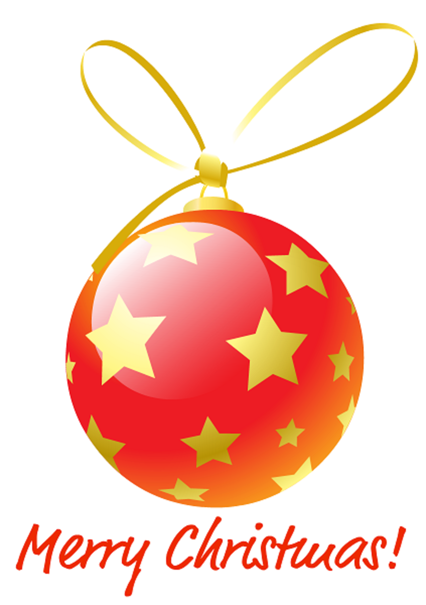 Red Christmas ornament with gold stars.