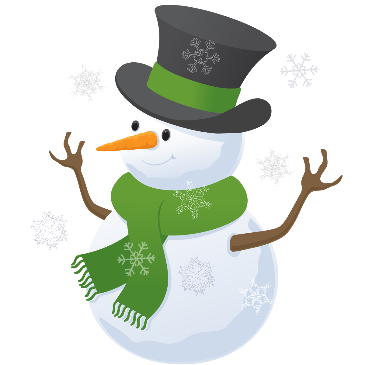 Snowman in top hat.
