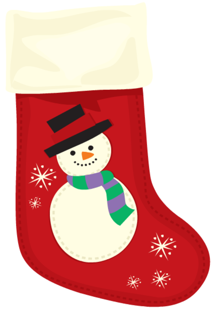 Red snowman Christmas stocking.
