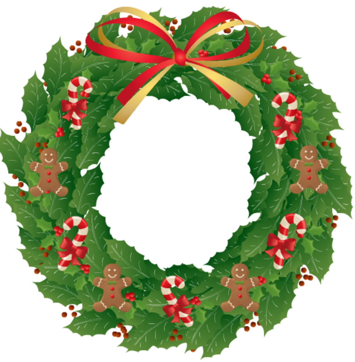 Christmas images: sweet treats holly wreath