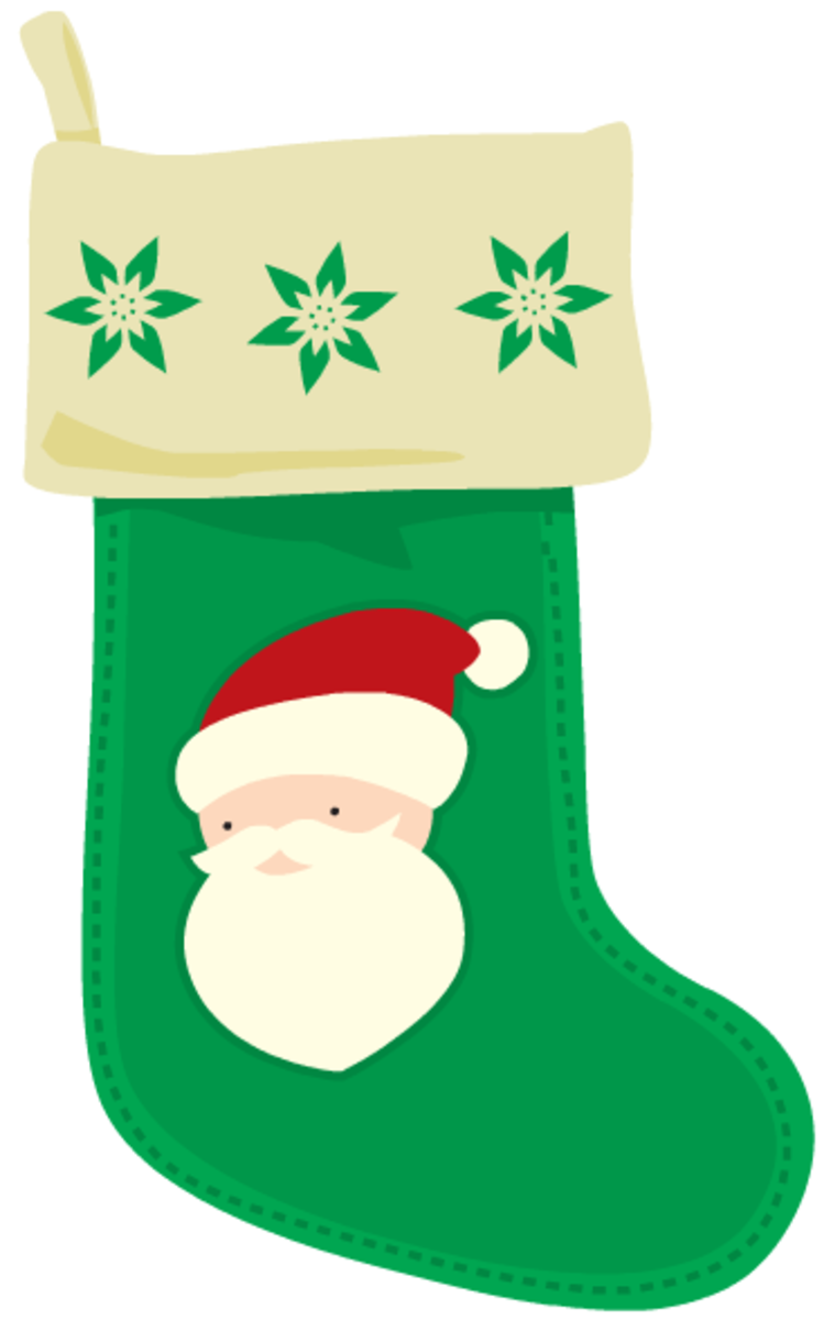 Green Santa Christmas stocking.