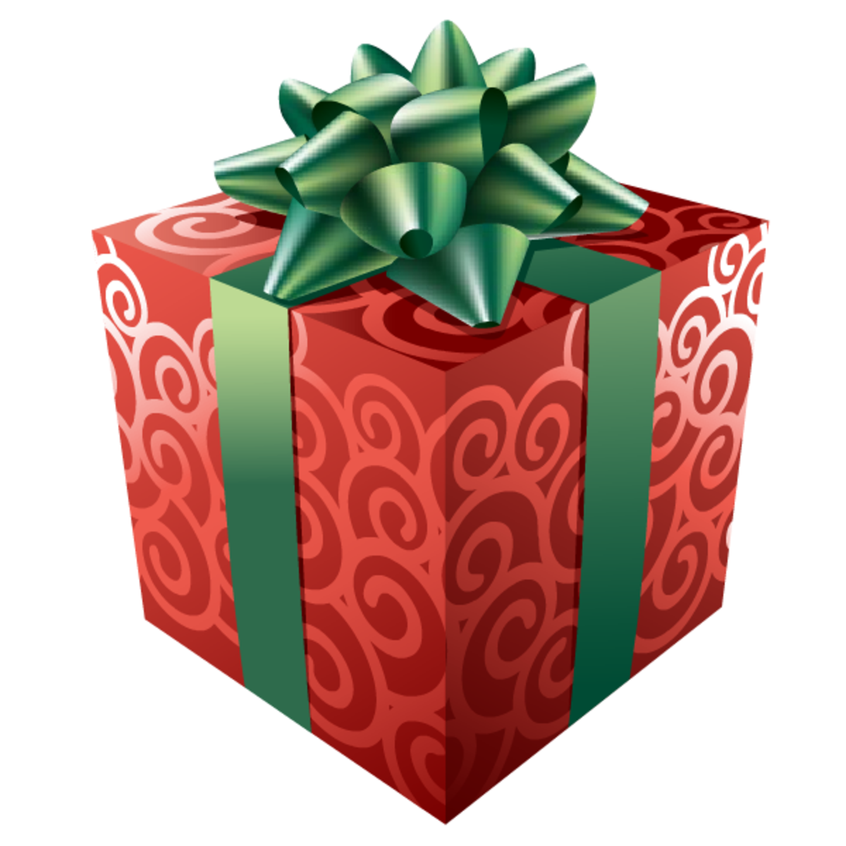 Red-and-green Christmas present clip art.