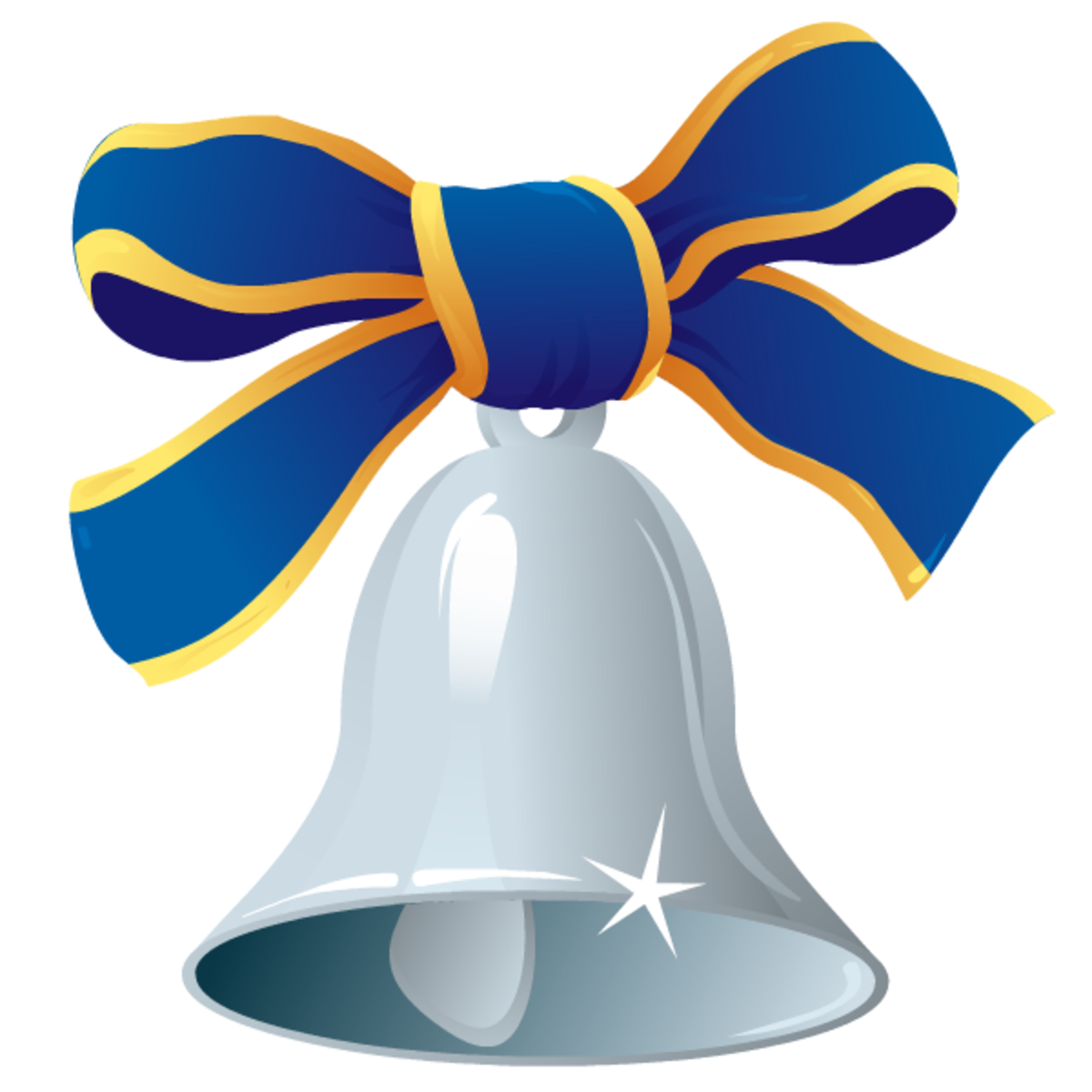 Silver bell with blue ribbon.
