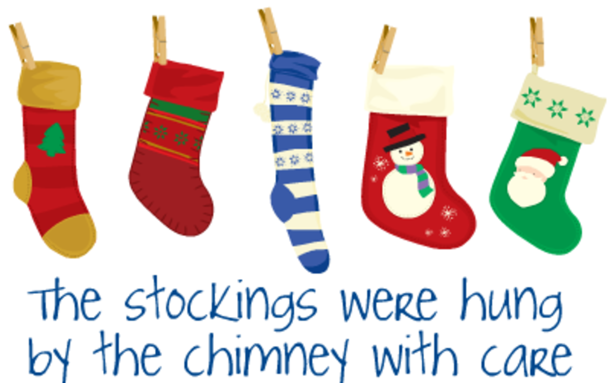 "Five Christmas stockings with the words ""The stockings were hung by the chimney with care."""
