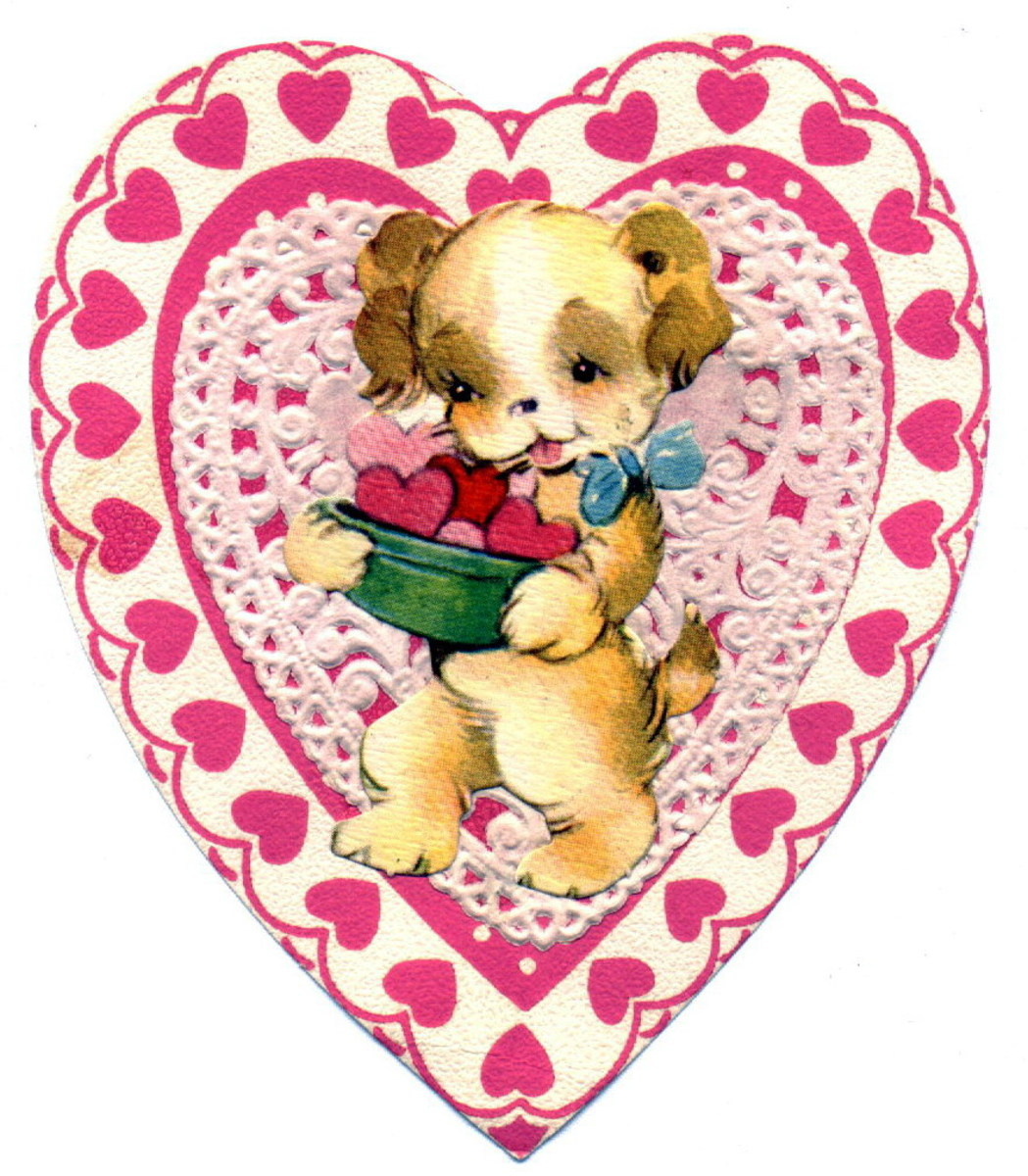 Vintage puppy in pink lace heart Valentine's Day clip art