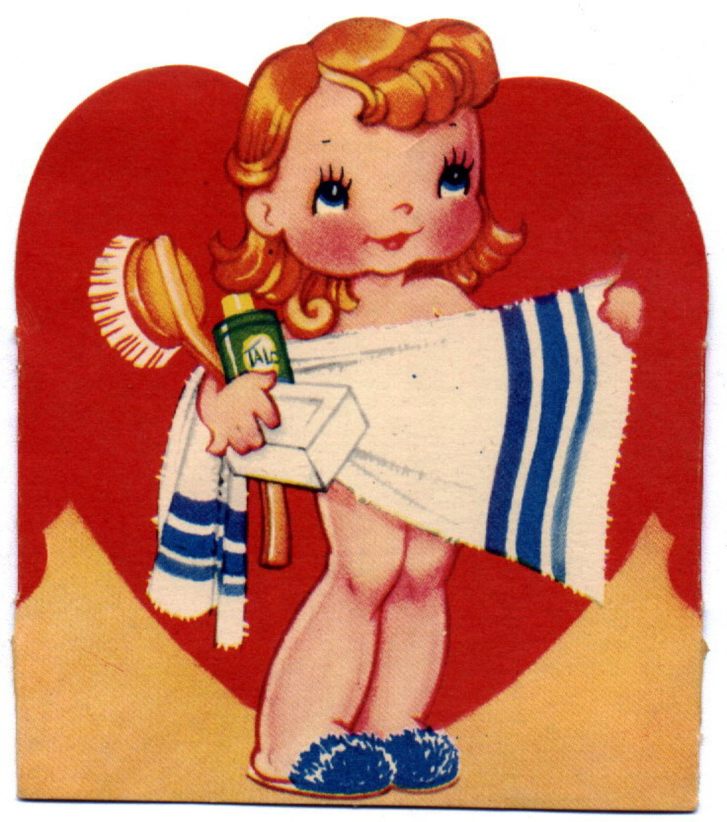 Free vintage heart with little kid Valentine's Day clip art