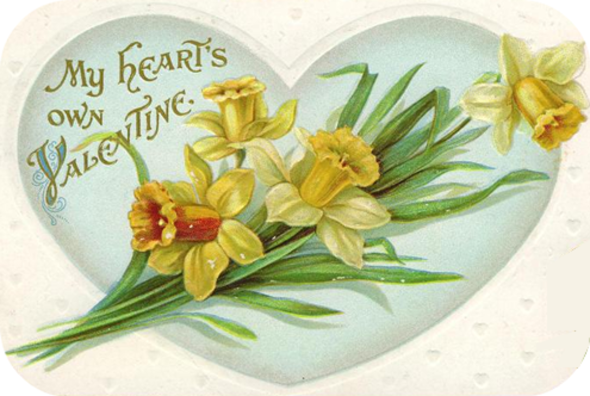 Vintage Valentine hearts aqua with yellow flowers