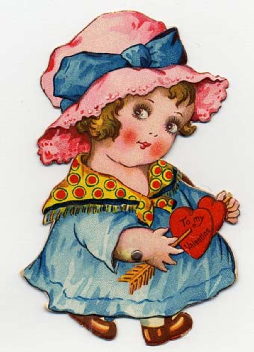 Free vintage heart with little girl Valentine's Day clip art