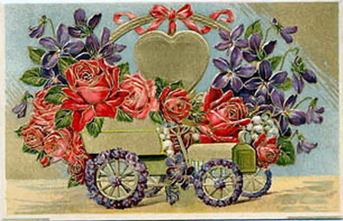Vintage flower cart Valentine's Day clip art