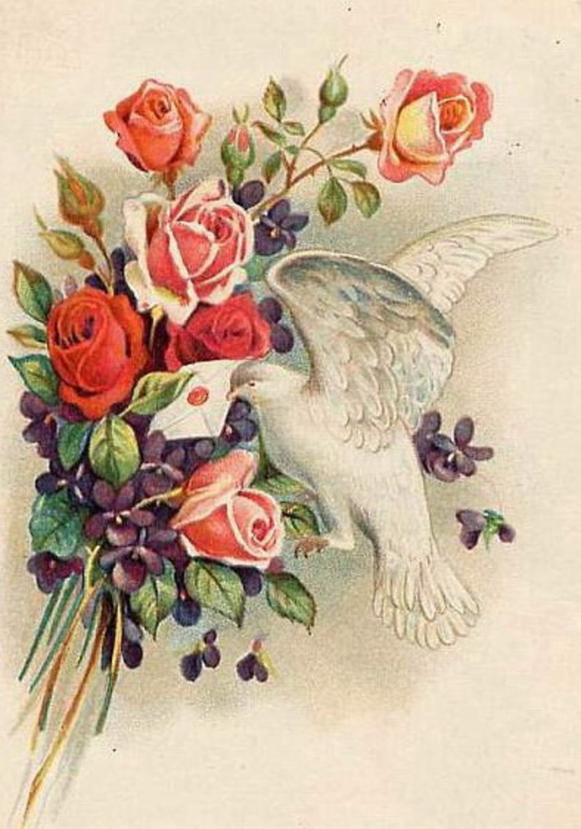 Vintage dove and roses Valentine flowers clip art