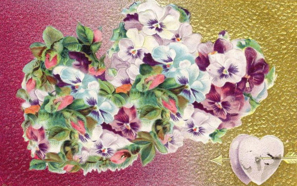 Vintage double heart Valentine flowers