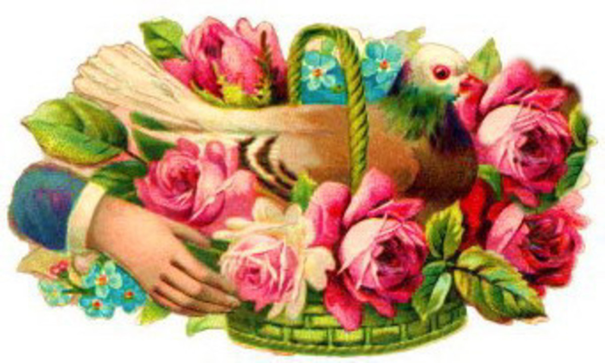Vintage bird in a a flower basket Valentine flowers clip art