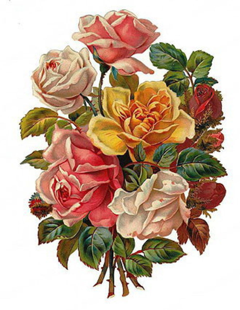 Vintage Valentine's flower bouquet with white, pink, yellow and red roses