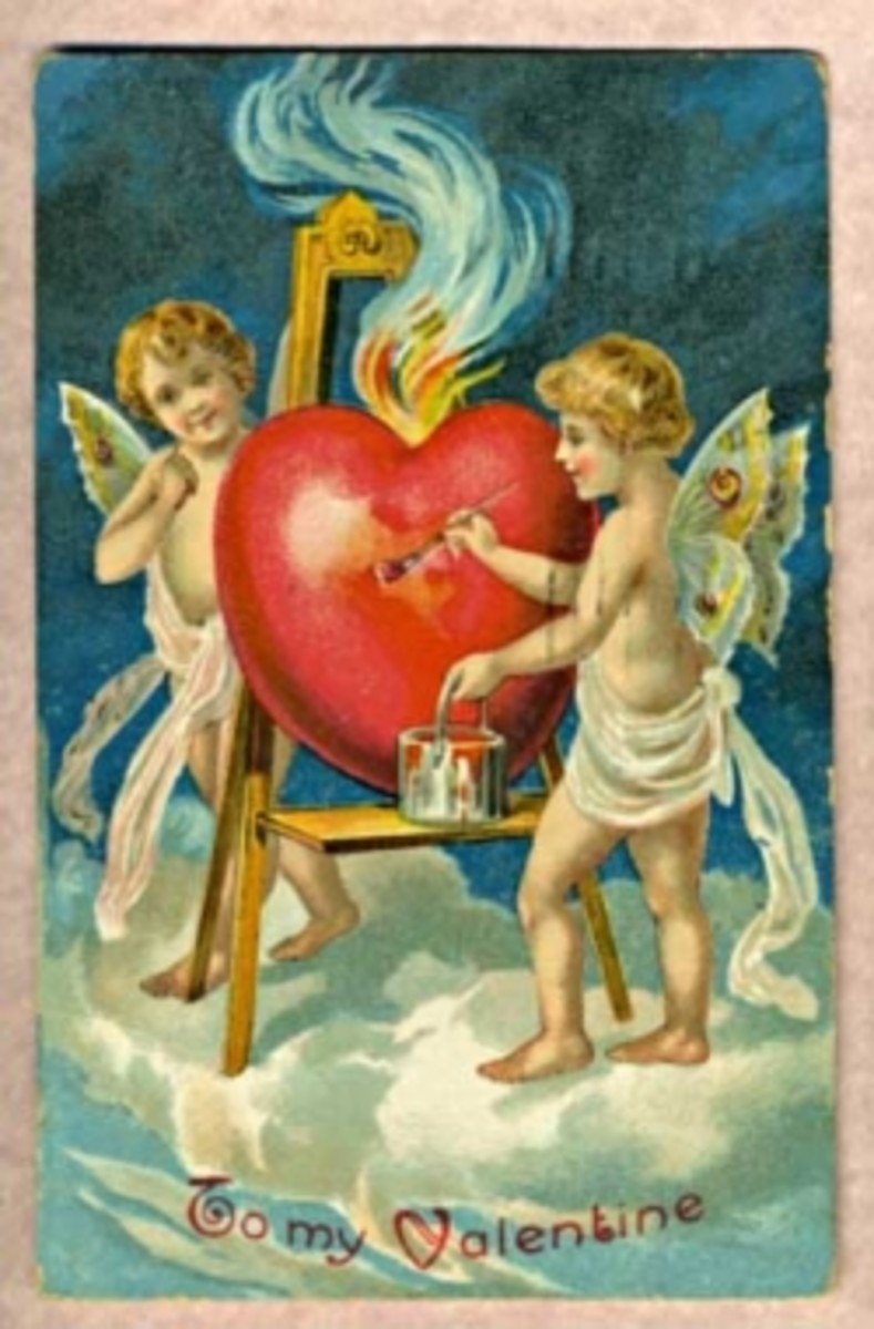 Antique Valentine.  http://commons.wikimedia.org/wiki/File%3AAntique_Valentine_1909_01.jpg