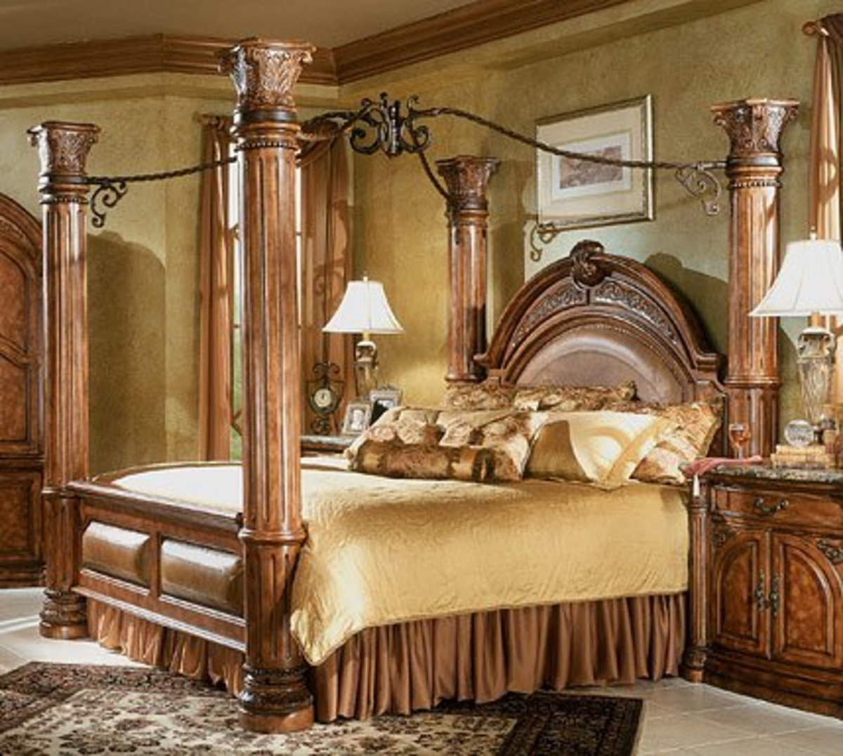 Monte Carlo Queen Poster Canopy Bed Medium Brown Finish $2,809.00