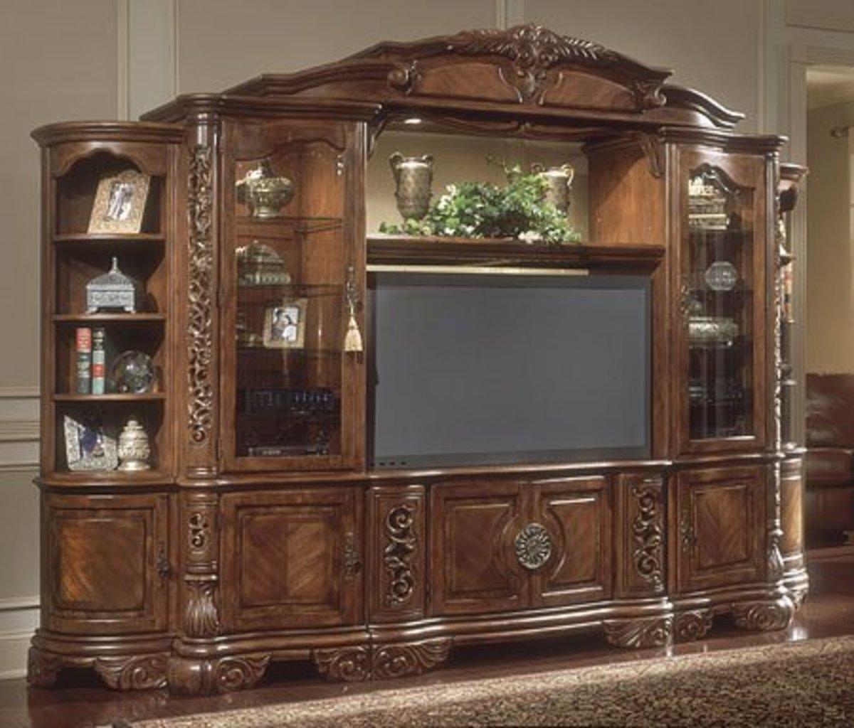 Excelsior TV Entertainment Wall Unit Rich Dark Fruitwood Finish $3,829.00