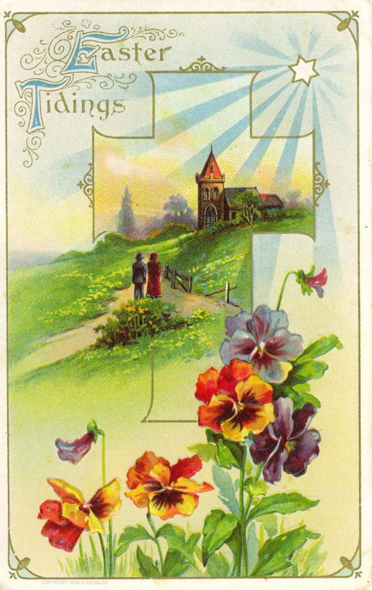 "Vintage Easter card: Multi-colored pansies in front of a country church scene ""Easter tidings"""
