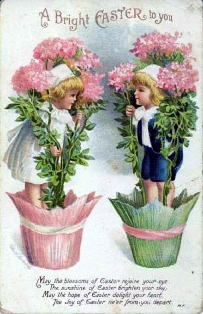 "Easter cards: Two cute kids in flower pots with pink chrysanthemums ""A bright Easter to you"""