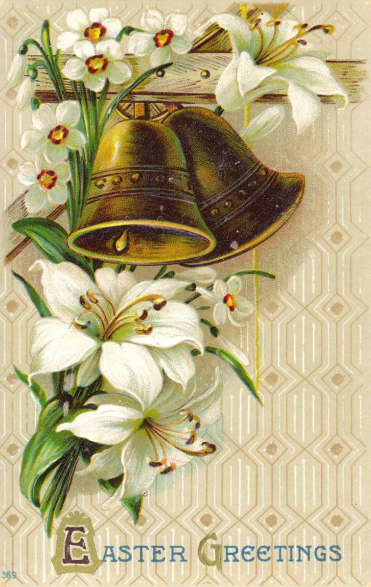 "Easter flowers: White flowers with gold church bells ""Easter Greetings"""