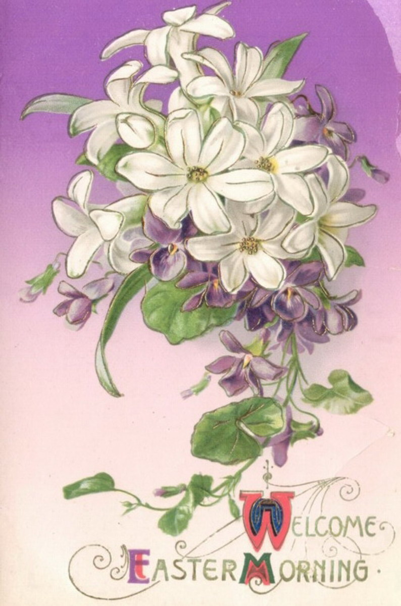 "Vintage Easter card: White and purple flowers ""Welcome Easter Morning"""