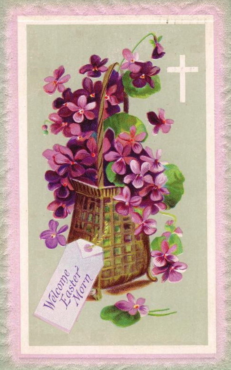 "Easter flowers greeting card: Basket of violets with note ""Welcome Easter morn"""