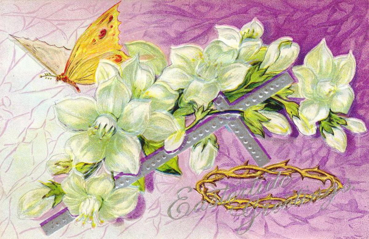 Vintage Easter cards: White Easter lilies, a crown of thorns and a butterfly on a purple background