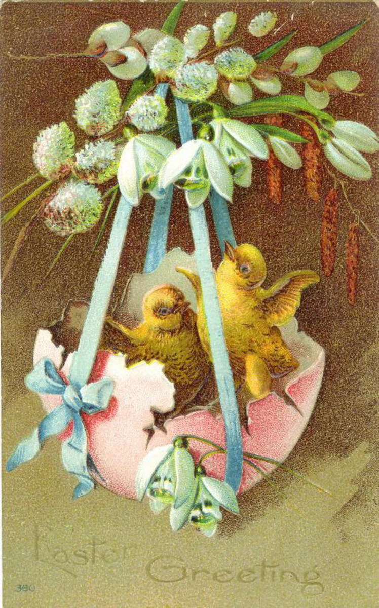 Easter card: Yellow baby chick in cracked pink Easter egg surrounded by pussy willows and other flowers
