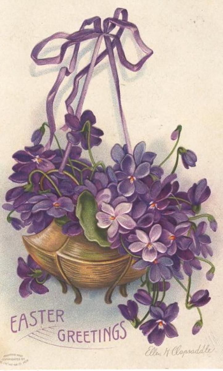 "Vintage Easter greeting card: Basket of Easter violets painted by Ellen Clapsaddle ""Easter Greetings"""