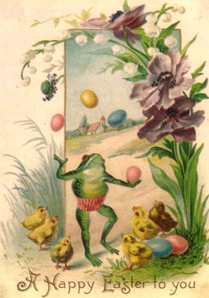 "Vintage Easter greeting card: Frog juggling colored Easter eggs with yellow baby chicks and flowers ""A happy Easter to you"""