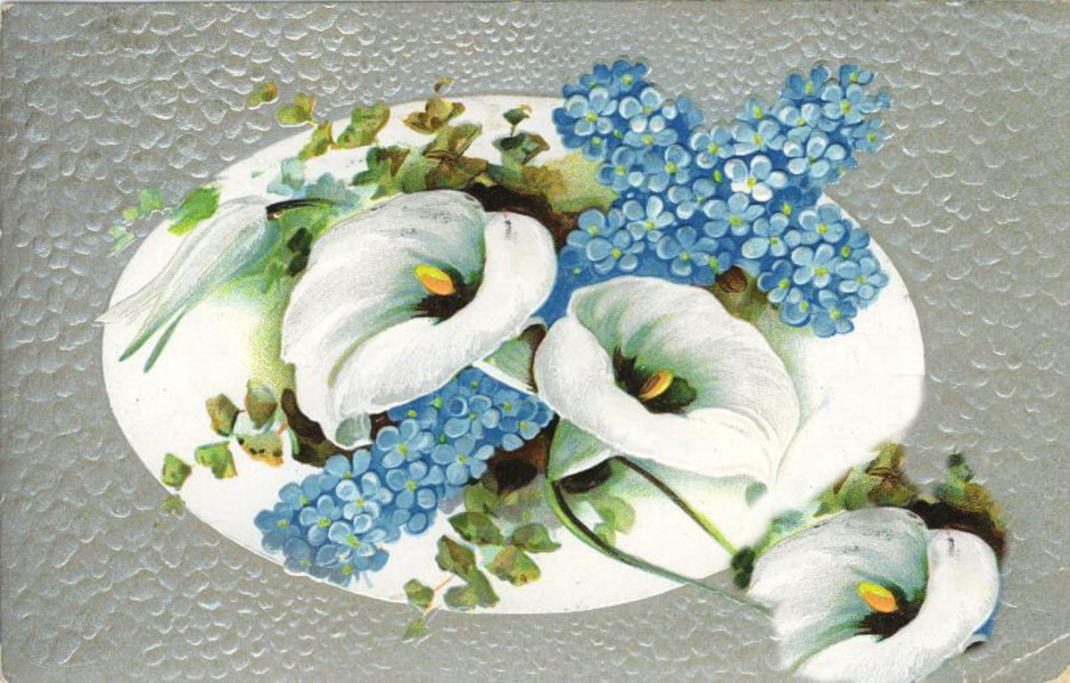 White Easter lilies with forget-me-nots on a hammered silver background