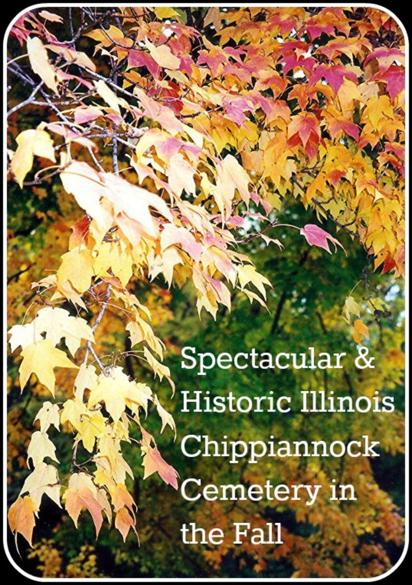 Photos of Historic Chippiannock Cemetery Monuments with Fall Colors at Rock Island, Illinois
