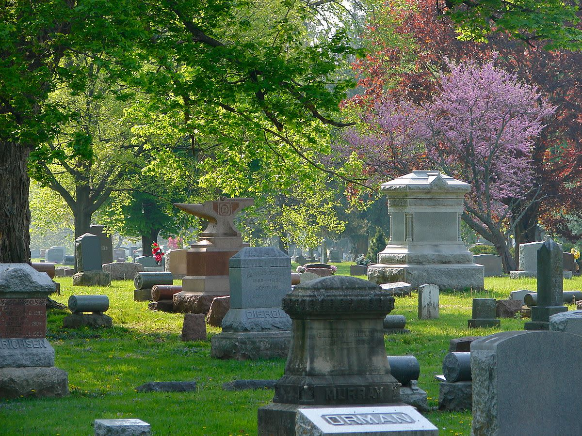 Spring time in Chippiannock Cemetery, Rock Island, Rock Island County, Illinois.