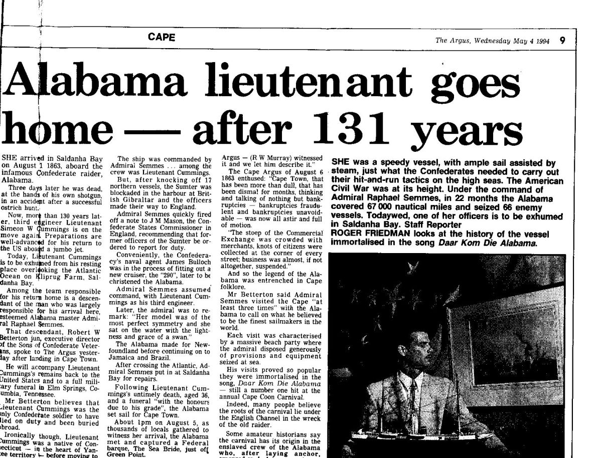 The report in the Cape Argus of 4 May 1994