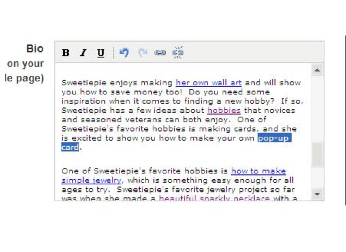 "Highlight the text to be hyperlinked.  The text we will be highlighting to hyperlink is ""pop-up card""."