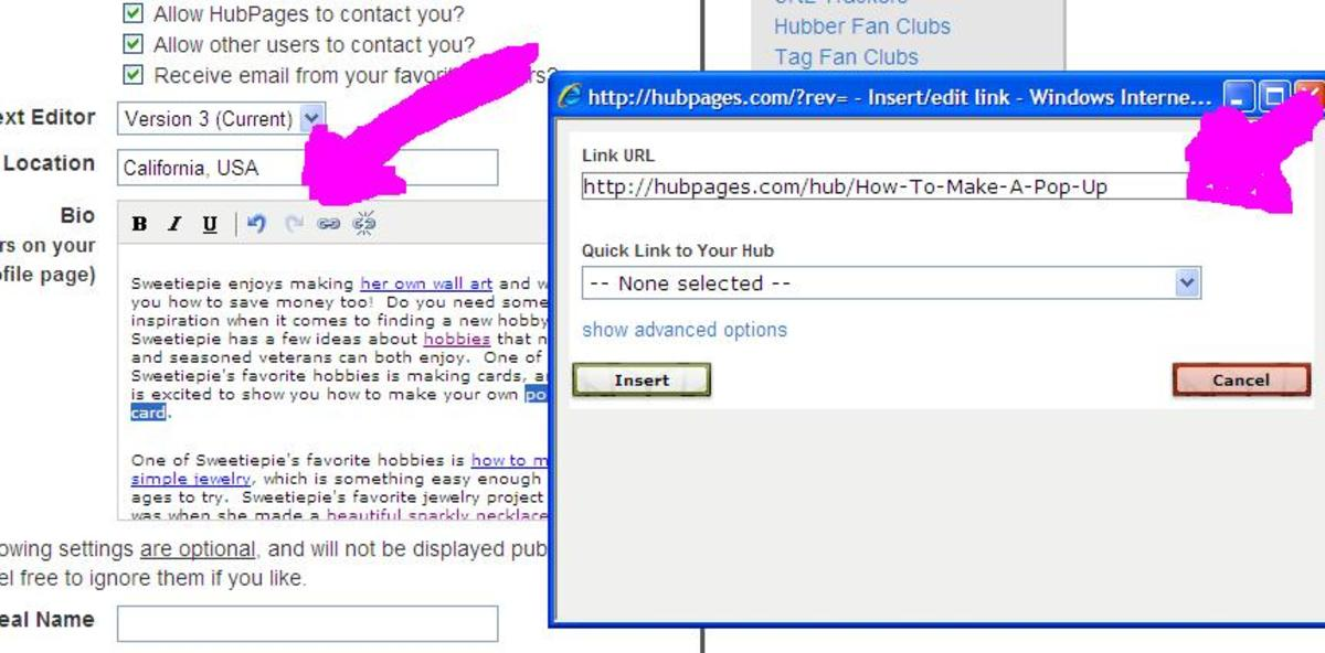 Click on the hyperlink tool and then add the link to the hub in the box.  Follow the arrows when in doubt.