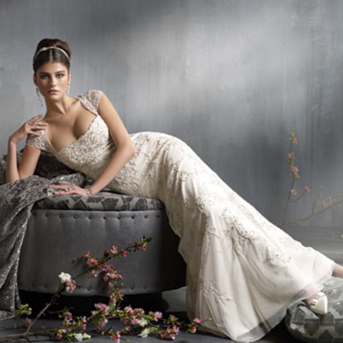 Beautiful ivory colored wedding dress