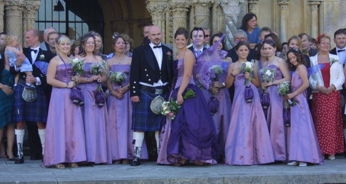 A colorful Scottish wedding plus a wedding dress with wings