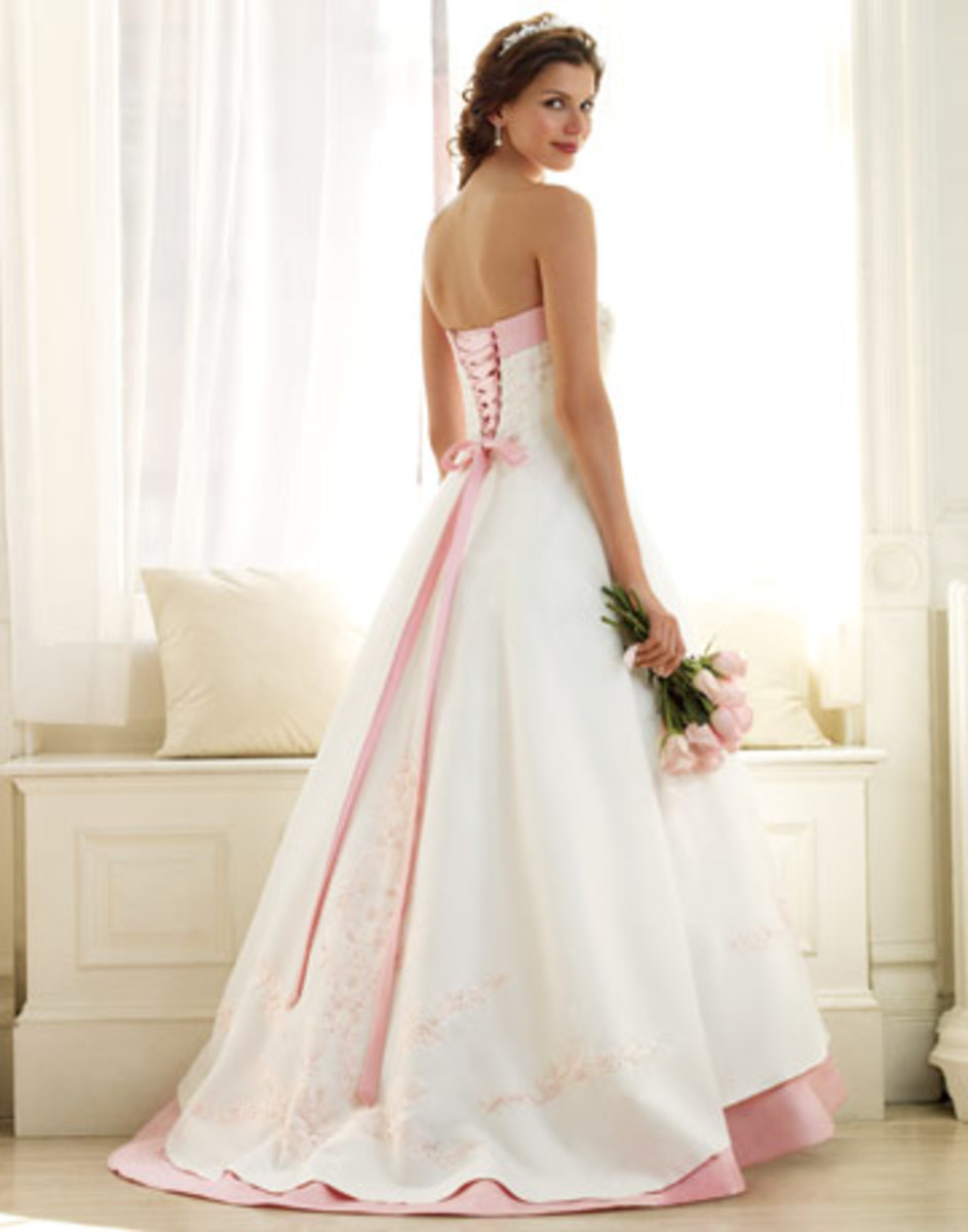 White wedding dress with color accents - a lovely rosy pink, in this case