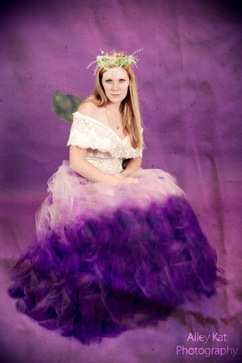 Purple fairy wedding dress. See more at http://alleykatphotography1.blogspot.com/
