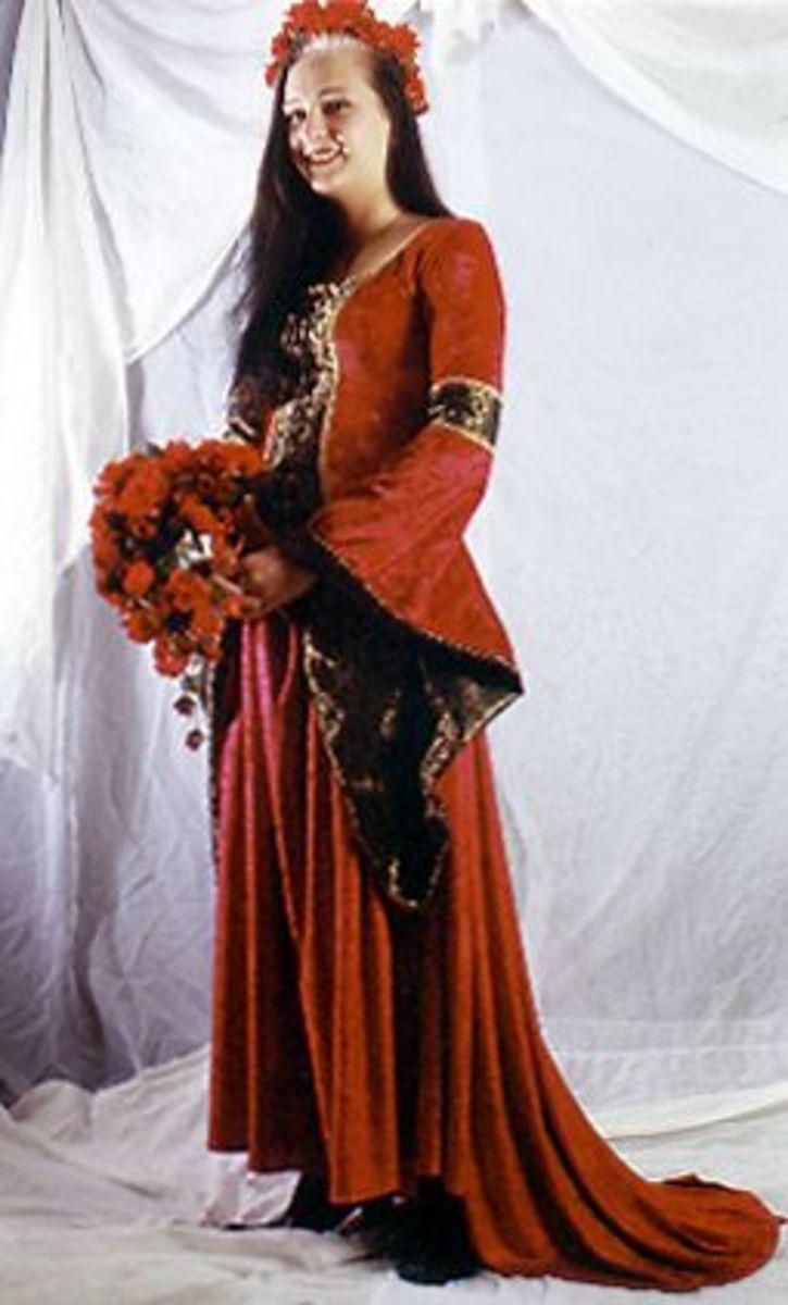 Rich red medieval wedding dress