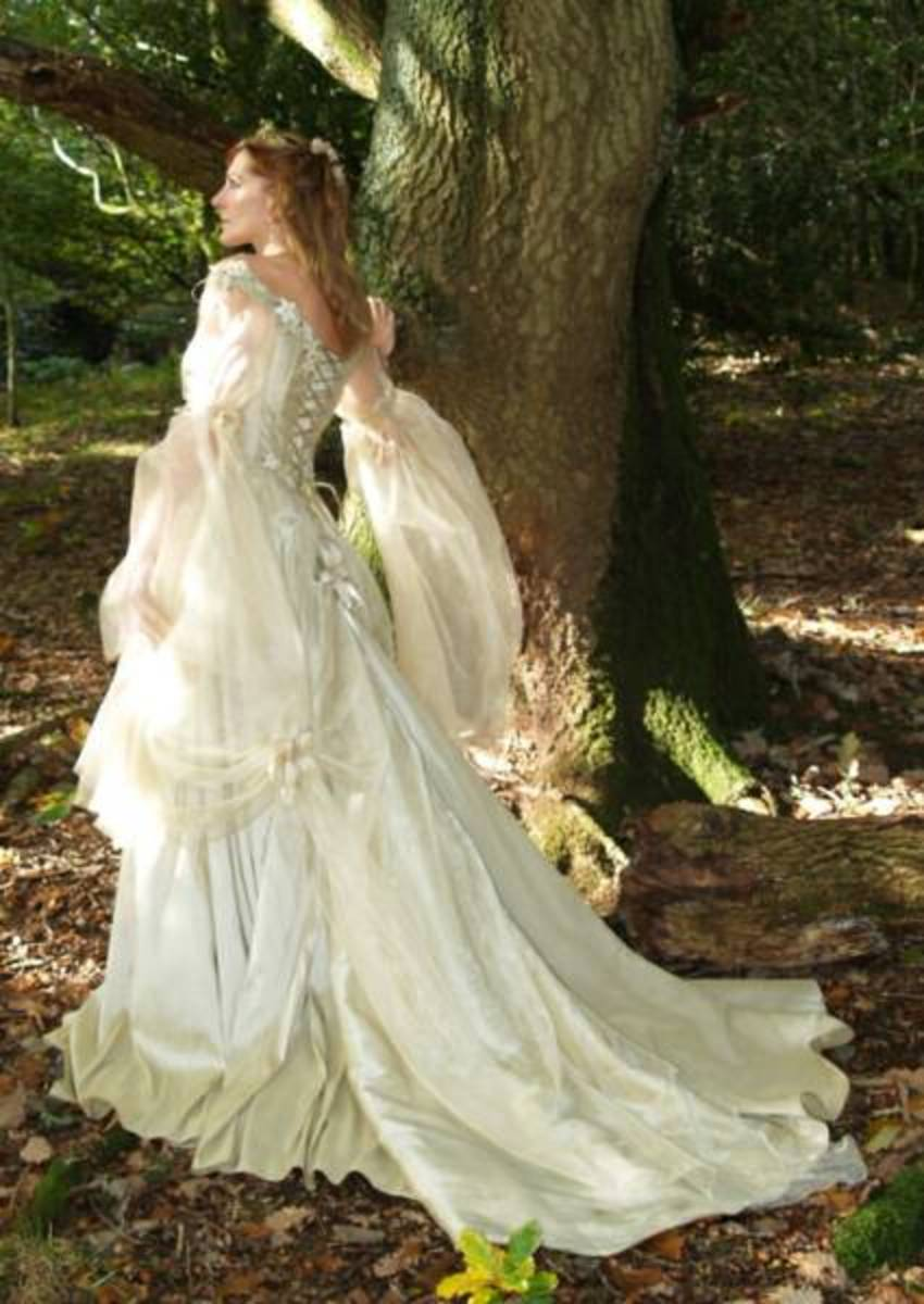 Stunning ivory white Medieval wedding dress