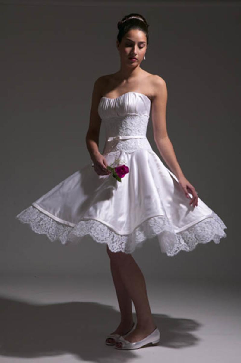 White, lacy ballerina tutu style wedding dress.