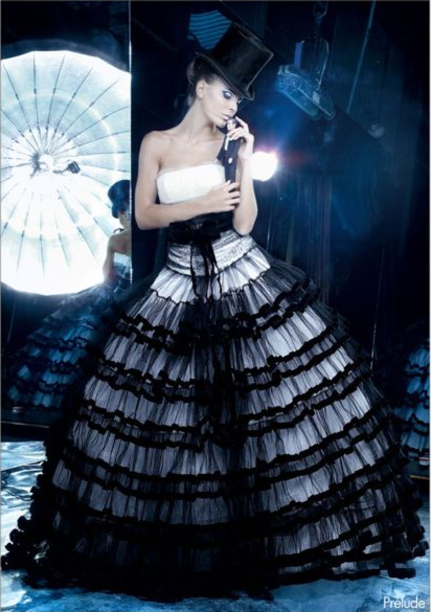 Unique black and white tulle wedding dress