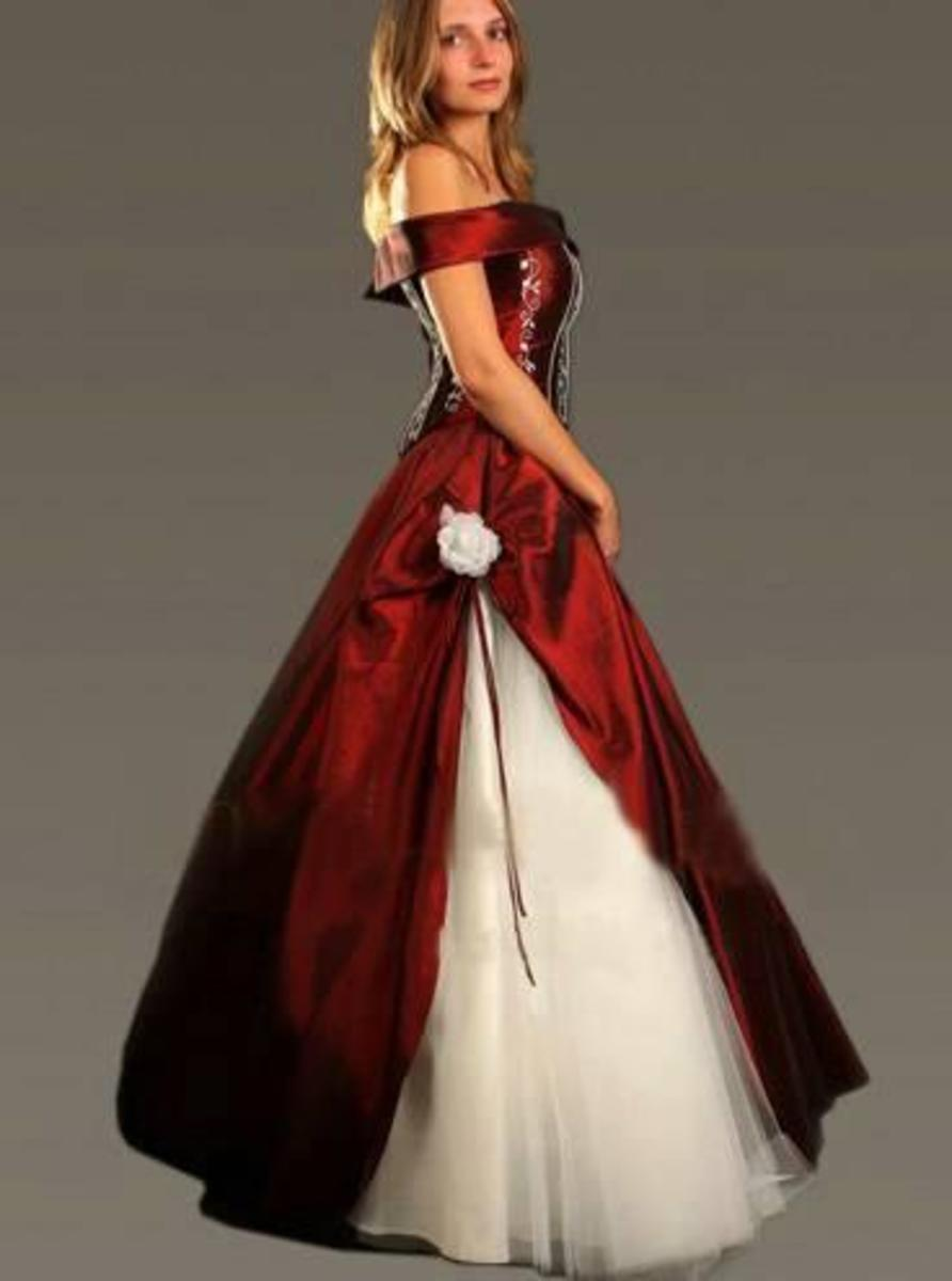 Blood-red silk and white tulle wedding dress