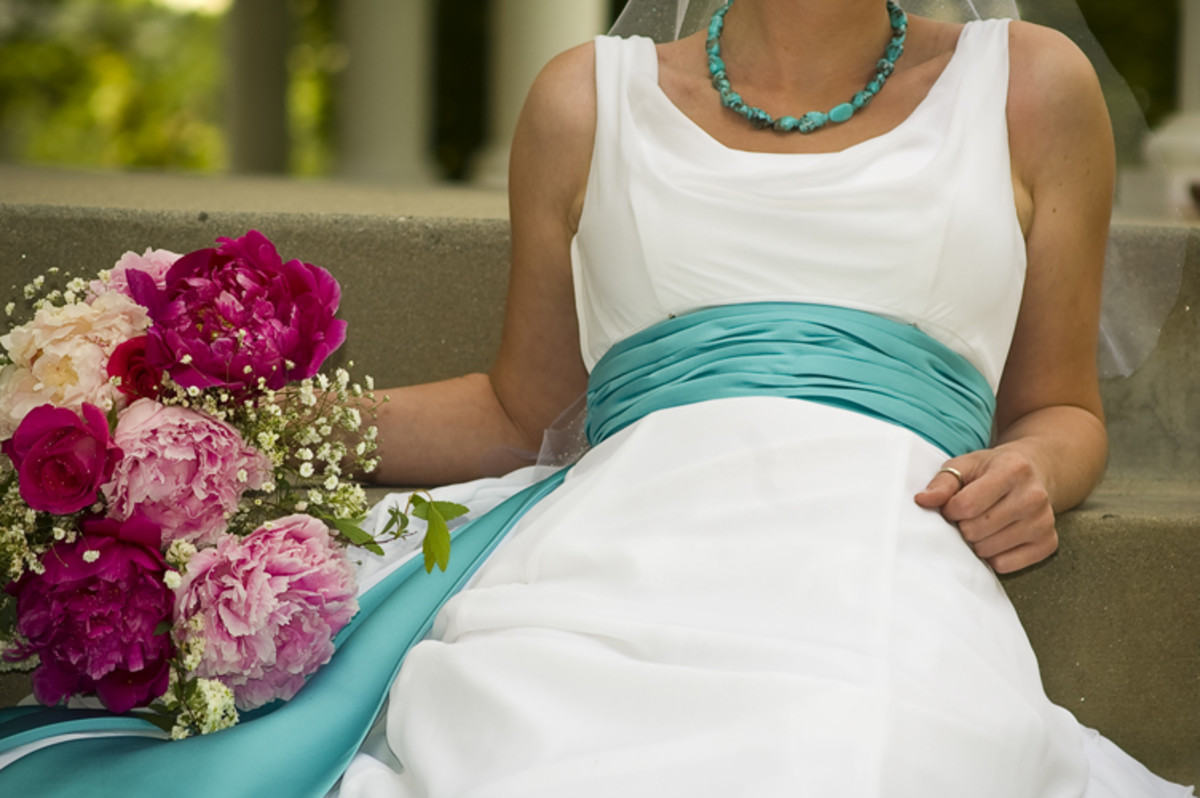 Turquoise Banded Wedding Dress - Wedding Gown with Turquoise Accents